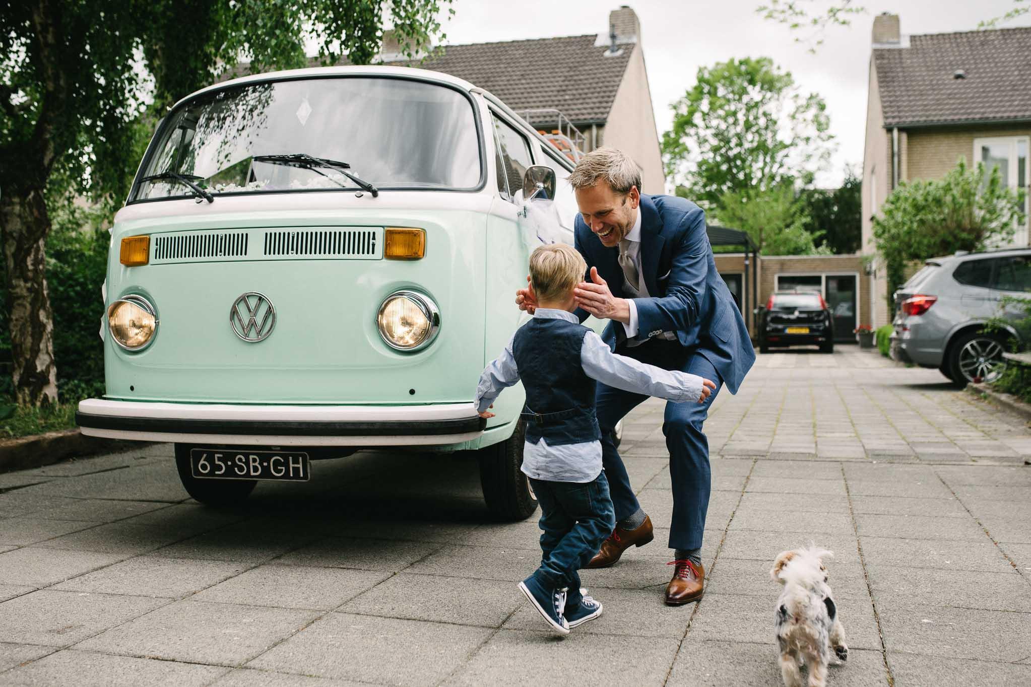 trouwauto VW bus retro mintgroen