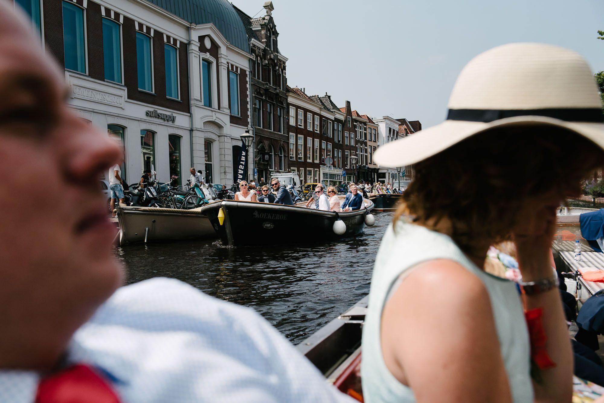 boottocht bruiloft binnenstad Leiden